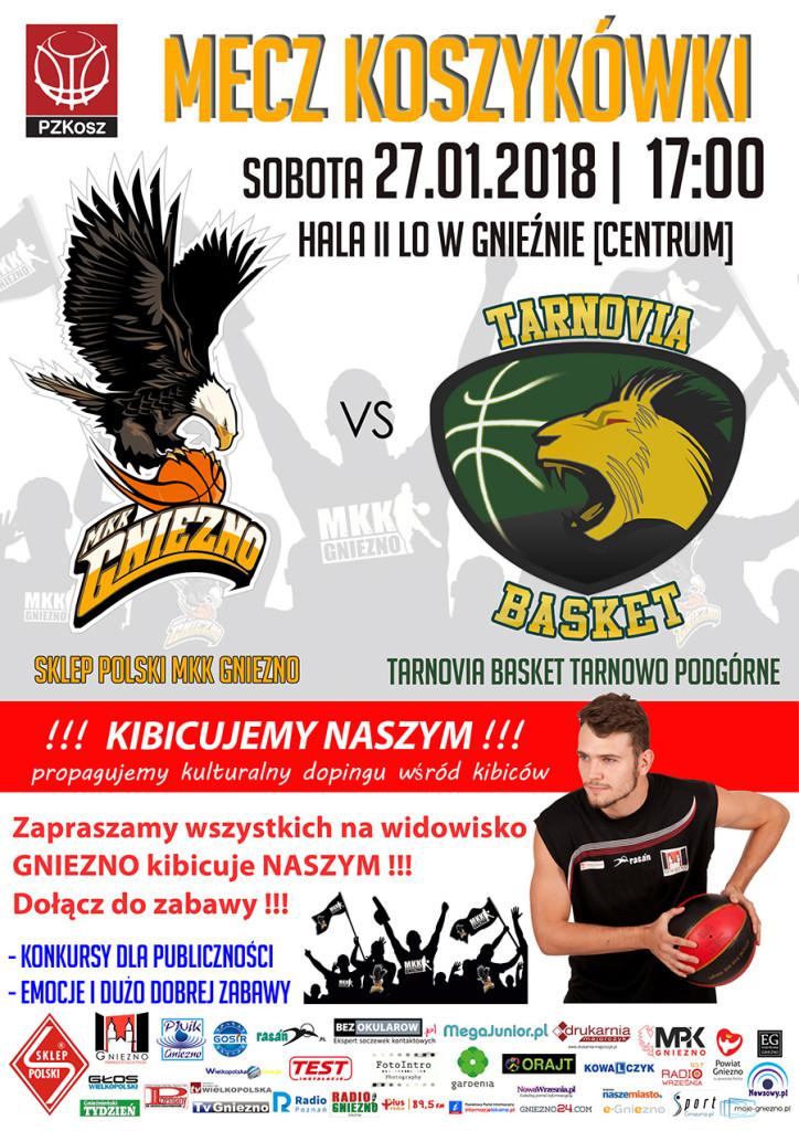 Sklep Polski MKK Gniezno – Tarnovia Basket Tarnowo Podgórne 2018_01_27 plakat www