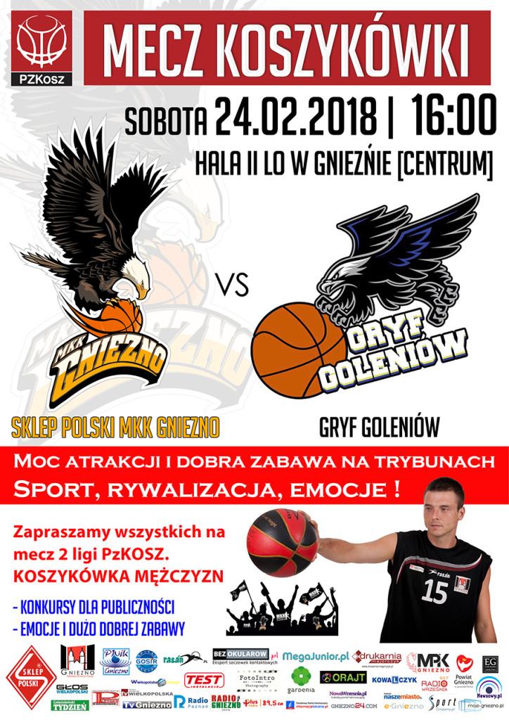 Sklep Polski MKK Gniezno – Gryf Goleniow 2018_02_24 plakat www