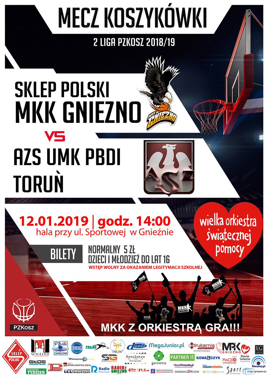 16 kolejka 2019_01_12 MKK GNIEZNO-AZS UMK PBDI Toruń - WOSP www